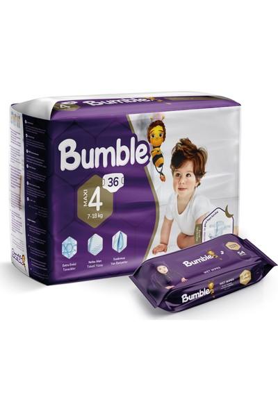 Bumble 4 Numara Bebek Bezi Maxi Ikiz Paket+Bumble Baby Islak Mendil Hediyeli