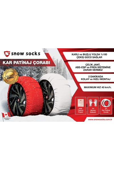 Snow Socks 235 55 R18 Kar Çorabı XL