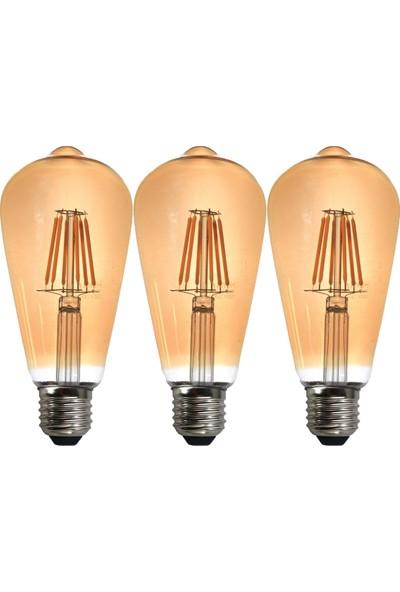 Heka LED Rustik 3 Adet Ampul 8 W Gün Işığı 2500K