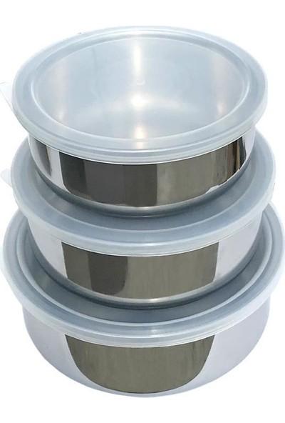 Kervancı Paslanmaz Çelik 3'lü Saklama Kabı Plastik Kapaklı