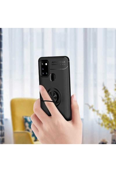 Mir Samsung Galaxy M31 Kılıf Ravel Metal Yüzüklü Standlı Silikon + Nano Cam Siyah