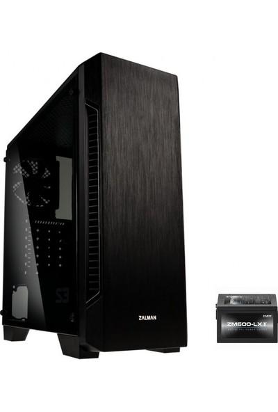 Zalman S3-600W ATX Mid Tower 600W Siyah 1 x Mikrofon 1 x Kulaklık, 1 x USB 3.0, 2 x USB 2.0, 1 x 120 mm Fan, Cam Yan Kapak, , PCI/AGP 330 mm Bilgisayar Kasa
