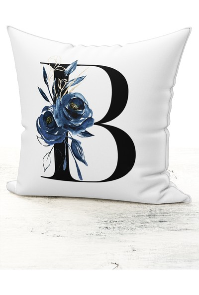 Bk Home Dekor Harf Kırlent Mavi Çiçekli B Kırlent Kılıfı