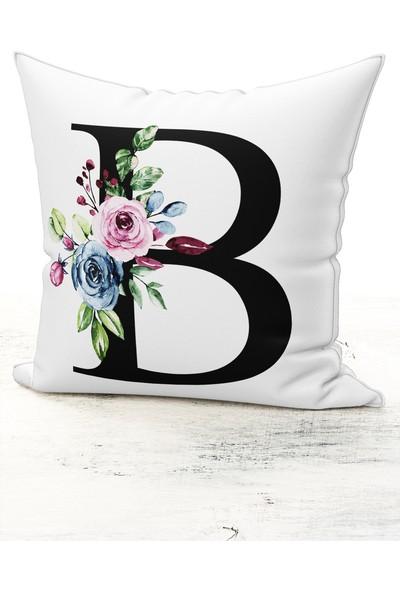 Bk Home Dekor Harf Kırlent Çiçekli B Kırlent Kılıfı