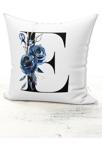Bk Home Dekor Harf Kırlent Mavi Çiçekli E Kırlent Kılıfı