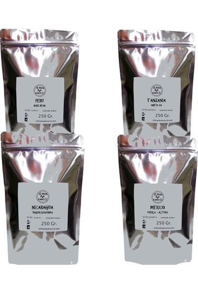 Yılman Kahvecisi Tanzania Peru Nicaragua Mexico Filtre Kahve Çekirdek Deneme Set 1 kg