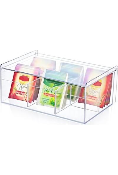 H Home Concept Çay Kutusu 6 Bölmeli Kapaklı Poşet Bitki Çayı Saklama Kabı