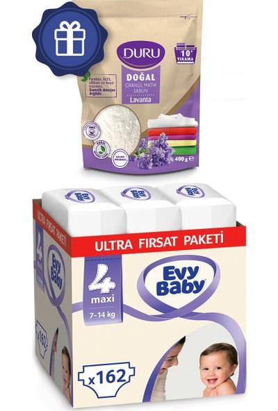 Evy Baby Bebek Bezi 4 Numara Maxi Ultra Fırsat Paketi 162'li ve Duru Granül Sabun 400 gr