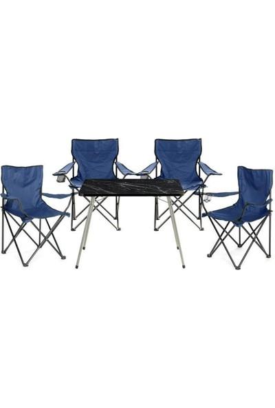 Byeren Kamp Seti- 4* Kamp Sandalye Lacivert- 45*60 Piknik Sehpa Siyah
