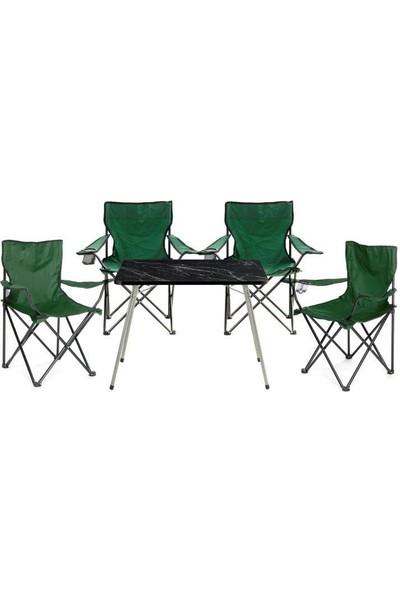 Byeren Kamp Seti- 4* Kamp Sandalye Yeşil- 45*60 Piknik Sehpa Siyah