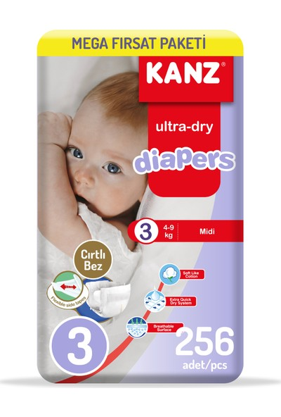 Kanz Bebek Bezi 3 Numara Eko Paket 4 x 64'lü