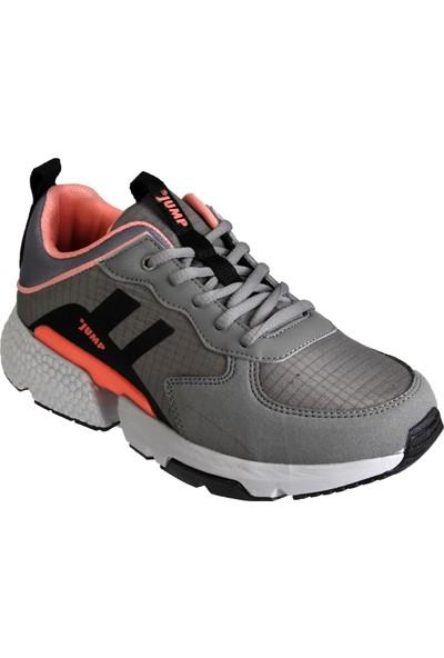 Jump Kadın Gri Siyah Kalın Taban Spor Yürüyüş Sneaker Ayakkabı