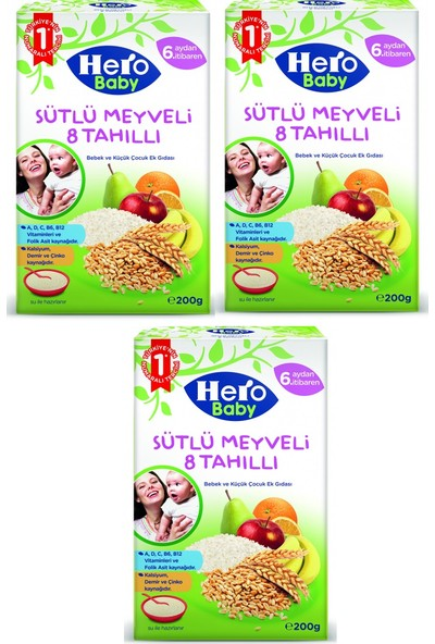Hero Baby Sütlü Meyveli 8 Tahıllı Kaşık Maması 200 gr x 3 Adet