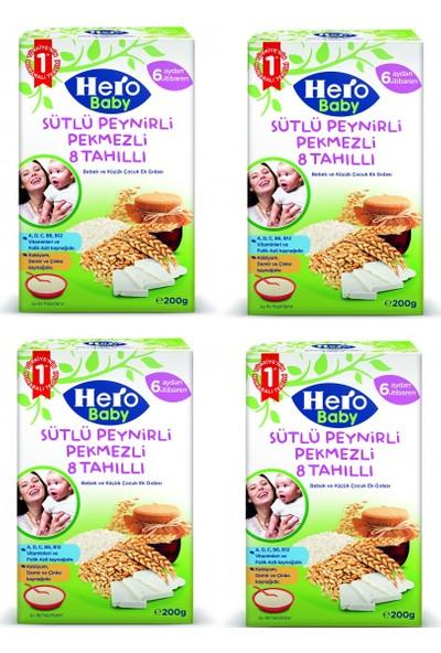 Hero Baby Sütlü Peynirli Pekmezli 8 Tahıllı Kaşık Maması 200 gr x 4 Adet