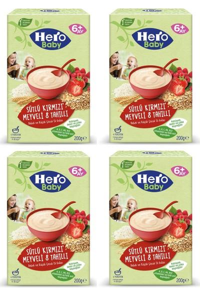 Hero Baby Sütlü Kırmızı Meyveli 8 Tahıllı Kaşık Maması 200 gr x 4 Adet