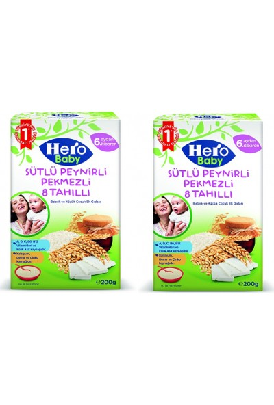 Hero Baby Sütlü Peynirli Pekmezli 8 Tahıllı Kaşık Maması 200 gr x 2 Adet