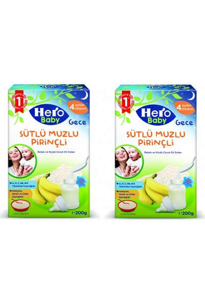 Hero Baby Sütlü Muzlu Pirinçli Kaşık Maması 200 gr x 2 Adet