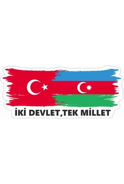 Sticker Atölyesi Türkiye Azerbaycan Bayrak Sticker