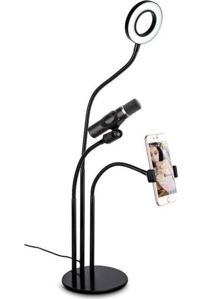 Sezy 3 In 1 Telefon Tutucu Tripod 3 Kademeli Mikrofon Standı USB Masa Lambası