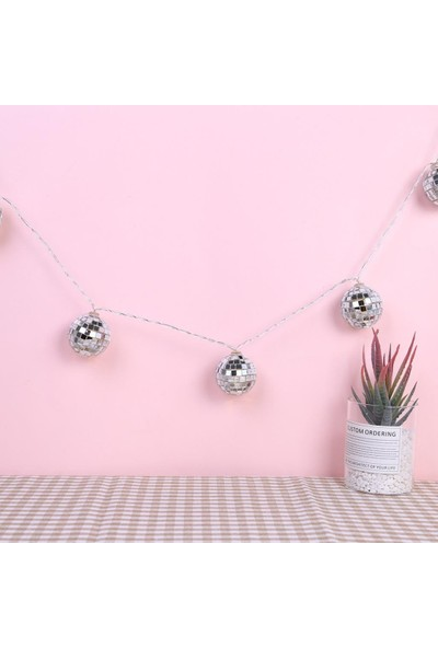 Buffer Mini Disko Topu Dekoratif Süsleme 10'lu LED Zinciri Pilli Süs LED