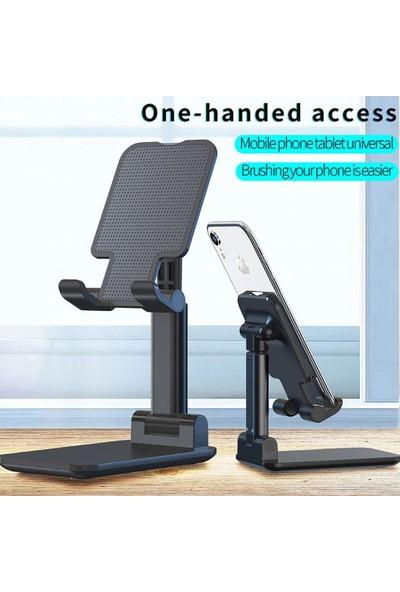 Akcaalan Masaüstü Katlanabilir Tablet ve Telefon Tutucu Stand Siyah