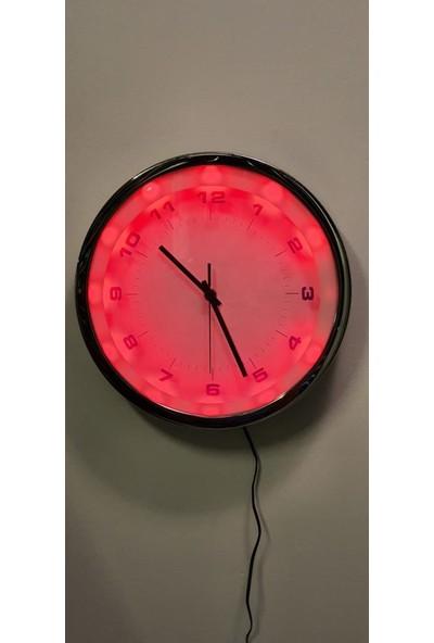 Eclips Kırmızı LED Işıklı 30 cm Duvar Saati Metal Çerçeveli CL30KR