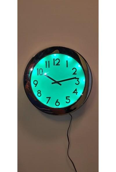 Eclips Yeşil LED Işıklı 25 cm Duvar Saati Metal Çerçeveli CL25YR