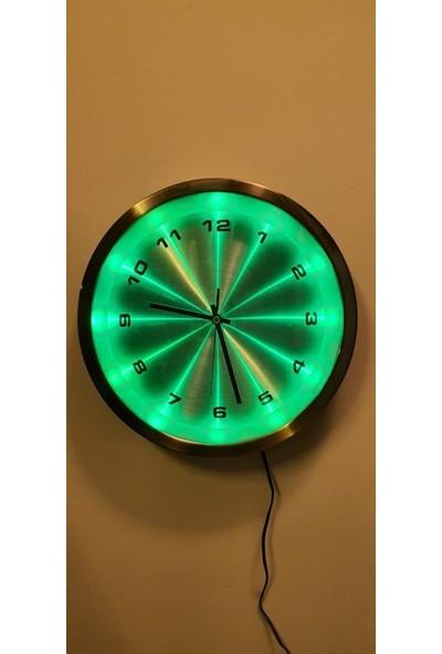 Eclips Yeşil LED Işıklı 30 cm Duvar Saati Metal Çerçeveli CL30YR