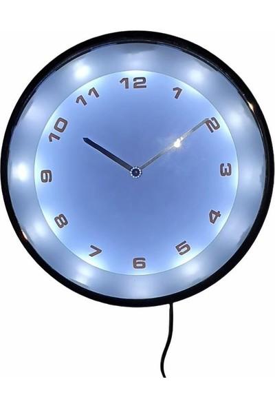 Eclips Beyaz LED Işıklı 20 cm Duvar Saati Metal Çerçeveli CL20BR