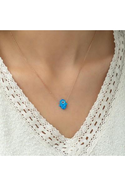 Dzg Silver Mavi Opal Taşlı Nazarlı Gümüş Fatma Ana Eli Kolye