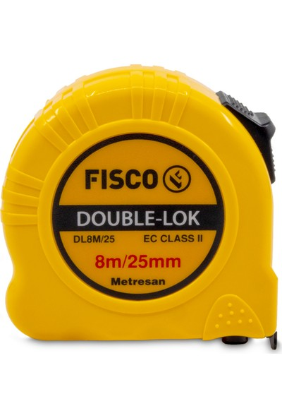 Fisco Double-Lok | 8 Metre / 25 mm Çelik Şerit Metre | DL8M/25MM