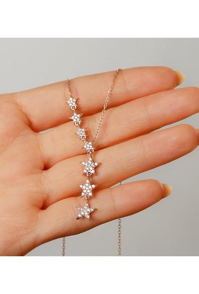 Gümüşistan 925 Ayar Gümüş Beyaz Taşlı Kayan Yıldız Kolye