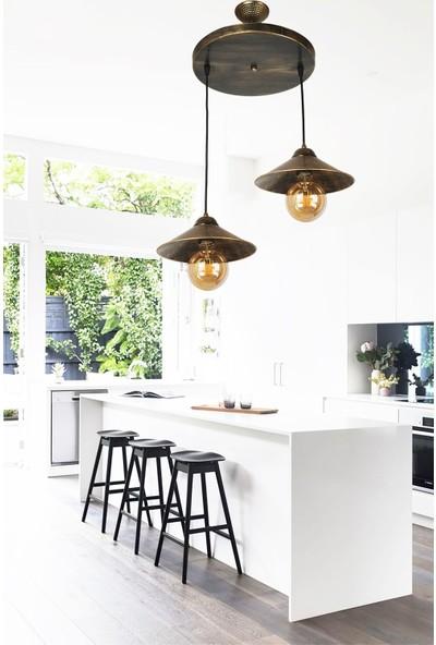 Evim Design Aydınlatma Maria 2 Li Sarkıt Siyah Sarı Patine Avize