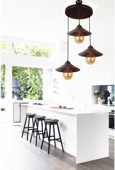 Evim Design Aydınlatma Maria 3'lü Sarkıt Siyah Bakır Patine Avize