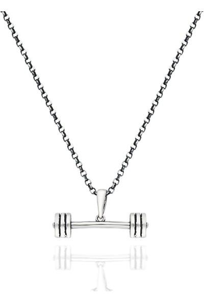 Takılingo 925 Ayar Gümüş Erkek Sporcu Dambıl Kolye