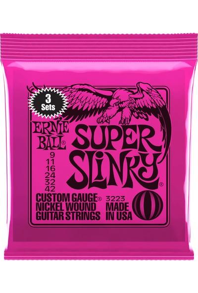 Ernie Ball 3223 Super Slinky Nickel Wound Electric Guitar Strings Elektro Gitar Teli 009 (3 Set)