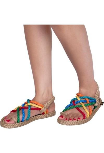 Nomadic Republic Nomadic Kadın Halat Sandalet - Bej-Gökkuşağı