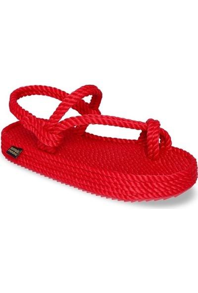 Nomadic Republic Hawaii Platform Kadın Halat Sandalet - Kırmızı