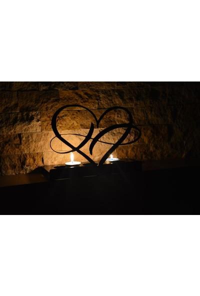 Pnr Trıple Dekoratif Sonsuz Aşk Metal Mumluk Şamdan