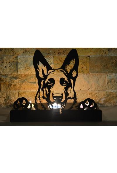 Pnr Trıple Figürlü Dekoratif Köpek Metal Mumluk Şamdan