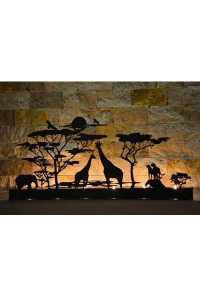 Pnr Quadruble Duble Safari Dekoratif 6 Lı Metal Mumluk Şamdan