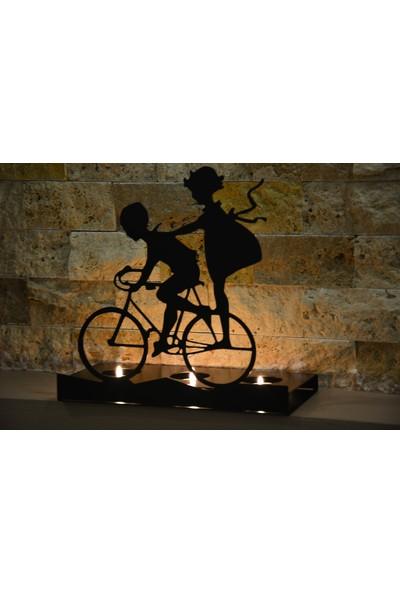 Pnr Trıple Dekoratif Bisikletli Çocuklar Metal Mumluk Şamdan