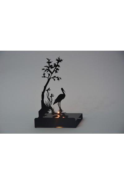 Pnr Sıngle Figürlü Dekoratif Kuğu Metal Mumluk Şamdan