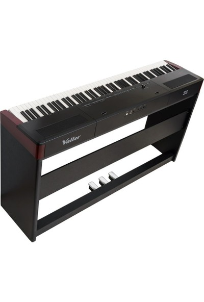 Valler S8 Siyah Stage Dijital Piyano (Stand + Sehpa Tabure + Kulaklık) - Koyu Gül Ağacı