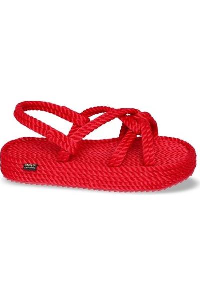 Nomadic Republic Bora Bora Platform Kadın Halat Sandalet - Kırmızı