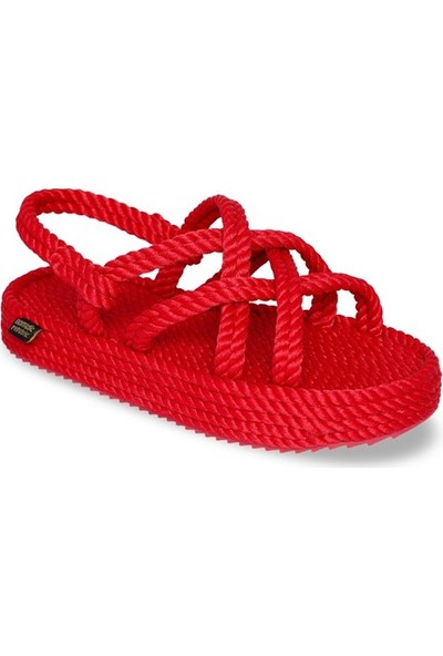 Nomadic Republic Bodrum Platform Kadın Halat Sandalet - Kırmızı