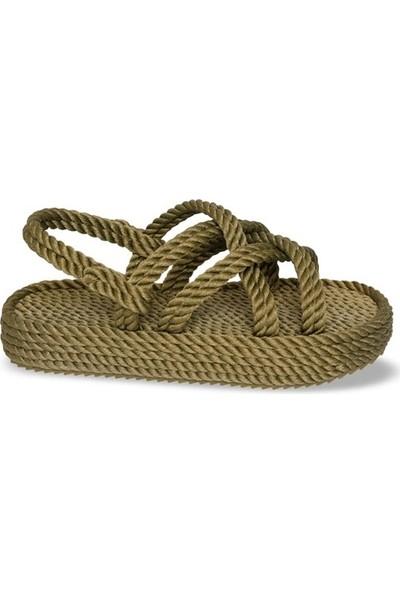 Nomadic Republic Bodrum Platform Kadın Halat Sandalet - Haki