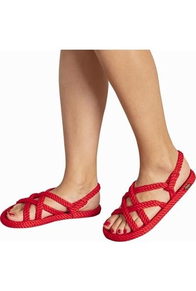 Nomadic Republic Bodrum Kadın Halat Sandalet - Kırmızı