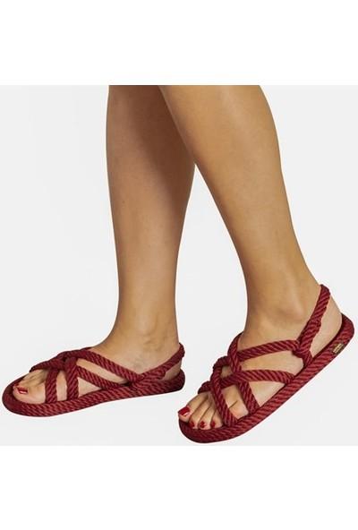 Nomadic Republic Bodrum Kadın Halat Sandalet - Bordo