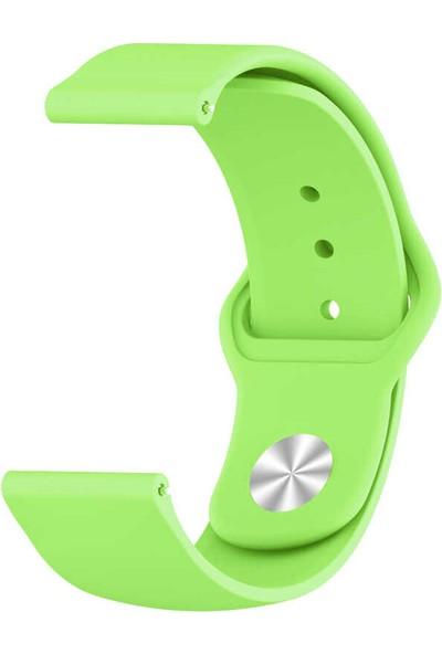 Nezih Case Samsung Galaxy Watch 42 mm Klasik Silikon Kordon (Sağlam Esnek Dizayn) Yeşil